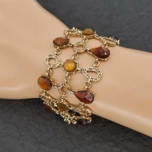 Liz Claiborne Gold & Amber Rhinestone Bracelet